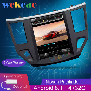 Wekeao Vertical Screen Tesla Style 10.4'' 1 Din Android 8.1 Car Radio GPS Navigation For Nissan Pathfinder Car DVD Player 2013+