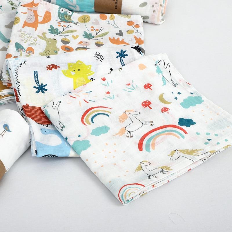 Muslin 100% Cotton Baby Swaddles Soft Newborn Blankets Bath Gauze Infant Wrap Sleepsack Stroller Cover Play Mat