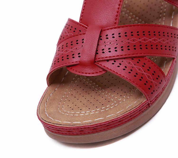 Laamei yaz kadın sandalet araba hattı aşınmaya dayanıklı kaymaz büyük boy retro kalın alt rahat sandalet