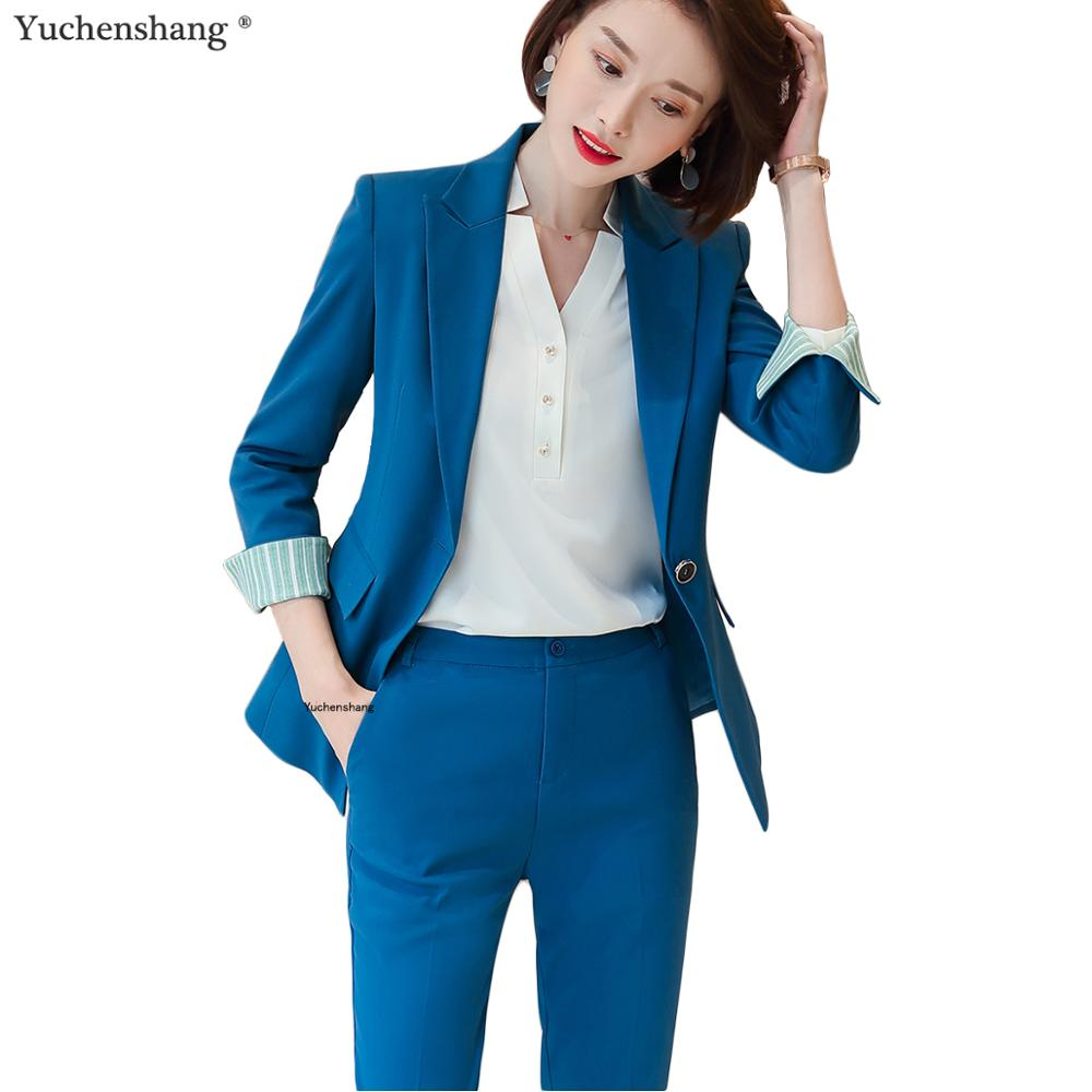 2 Pieces Set Solid Women Formal Pant Suit Office Lady Uniform Designs For Business Work Wear High-quality Suits