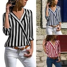 Women Blouses Fashion 2020 Deep V-Neck Blouse Shirts Tops Striped Office