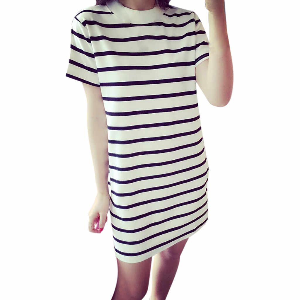 Gestreepte Jurk Vrouwen Zomer O-lijn Japanse en Koreaanse Stijlen Dresse Vrouwen Bell Korte Mouw Jurk Mini Party Dress vestidos