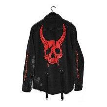 Hip Hop Denim Jacket Men Gothic Skull Cobra Printed Embroidery Hole Ripped Streetwear Harajuku Rock Punk Vintage Jeans Jacket