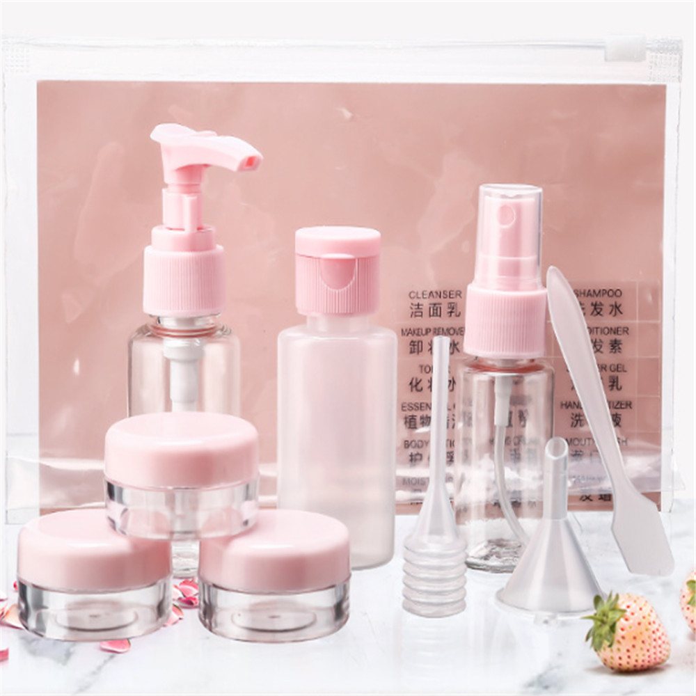 11 Pc/Set Travel Mini Makeup Cosmetic Face Cream Bottles Plastic Transparent Empty Make Up Container Travel Accessories
