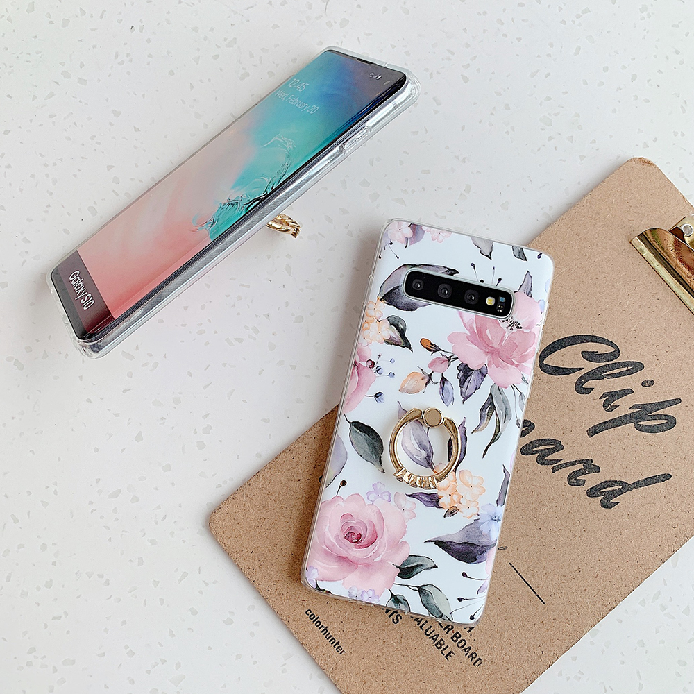 Vintage Flower Leaf Ring Stand Phone Case For Samsung A51 A50 A70 Note 10 Pro S8 S9 S10 Plus Case Soft IMD Phone Back Cover Bag
