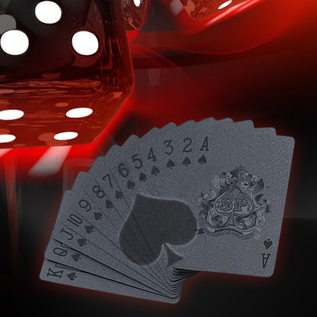 Black Waterproof And Moistureproof Poker Plastic PET Film Cool Pattern Playing Cards Novelty Collecting Board Game 5