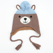 Autumn and Winter Cartoon Bear Children Hat for Baby Boys Girls Kids Knitted Cap Warm