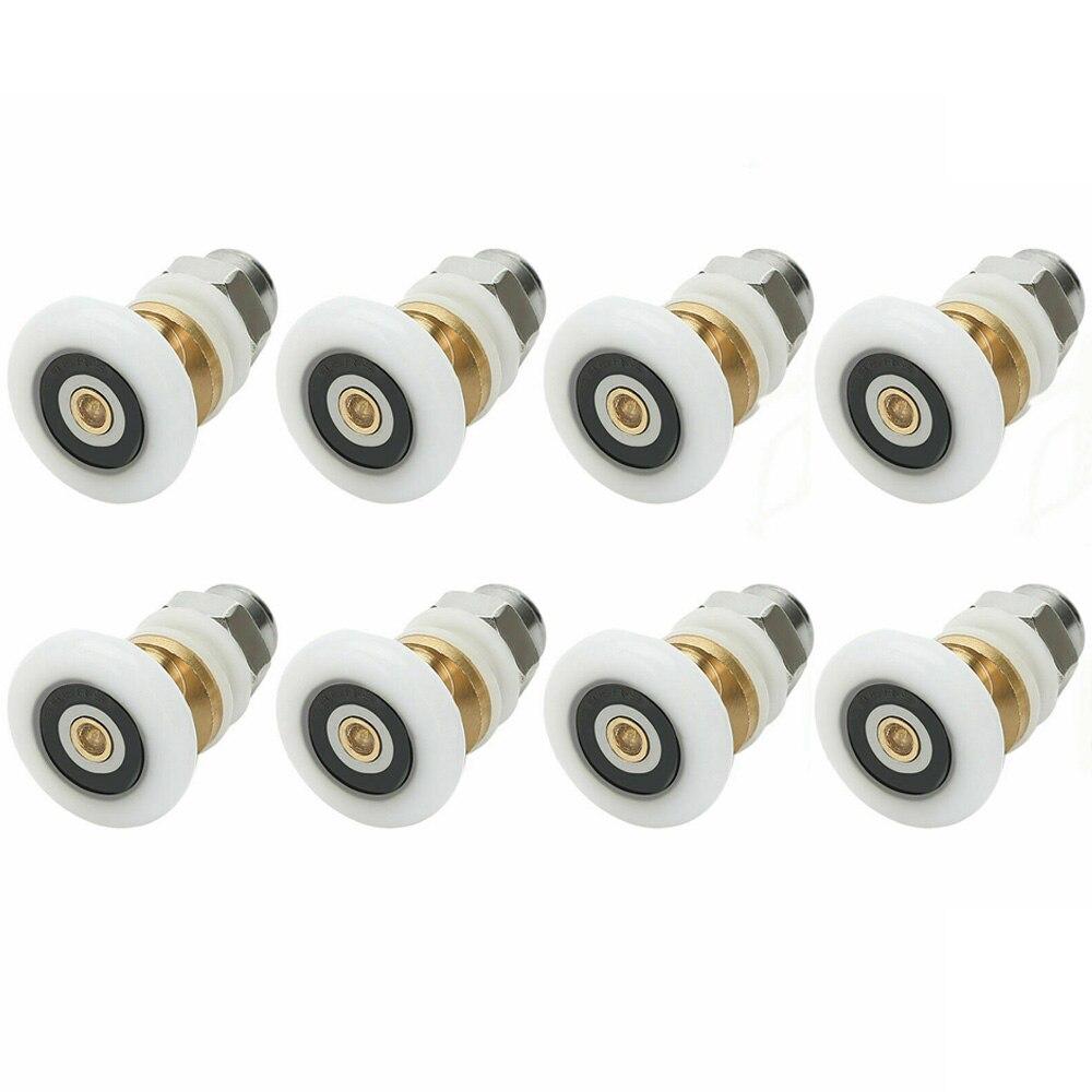8PCS 19/23/25/27mm Diameter Shower Glass Sliding Door Hanging Wheel Roller Bathroom Sliding Cabinet Eccentric Pulleys