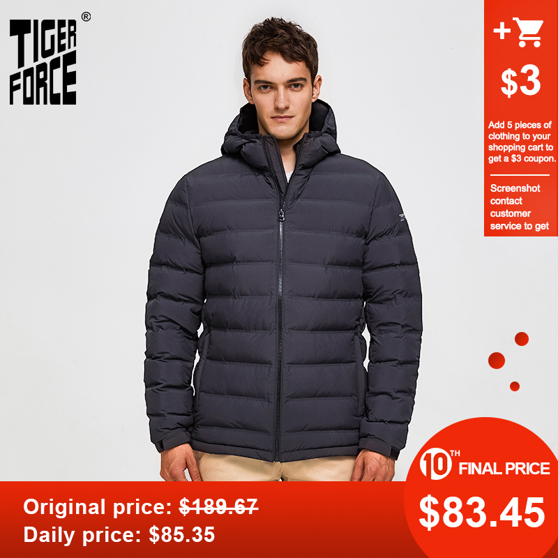 Tiger Force 2019 NEW White Duck Down Winter Jacket Men Parka Thickened Puffer Jacket With Hooded Male Warm Coat