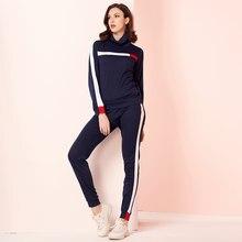 Mai & fun conjunto esportivo feminino, conjunto moletom com gola alta e calça, casual, de treino 2020