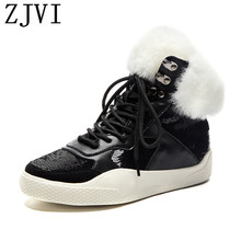 ZJVI women 2019 black genuine leather winter ankle snow boots flat woman ladies warm fur shoes for girls flats lace up sneakers