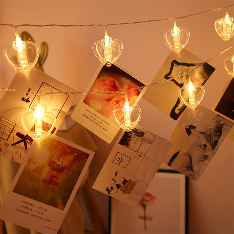 Thrisdar 1.5M 3M 6M Card Photo Clips Fairy String Light Battery Operated Star Heart Shape Christmas Garlands Light String