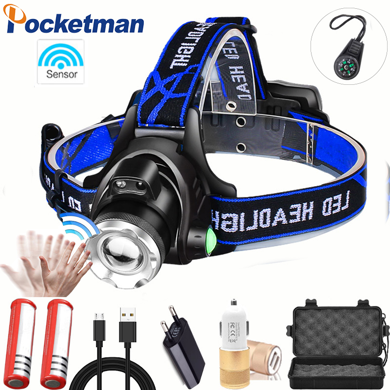 Most Powerful LED headlamp fishing headlight T6/L2/V6 3 modes Zoomable lamp Waterproof Head Torch flashlight Head lamp 18650