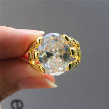 Luxury Male Female Big Oval Crystal Stone Ring Fashion Men Women Gold Engagement Ring Vintage Blue White Purple Zircon Ring(China)
