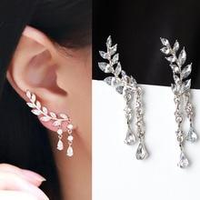 ZA Leaves Crystal Drop Dangle Earrings For Women Fashion Water Bohemian Wedding Vintage Christmas Gifts Geometric Jewelry