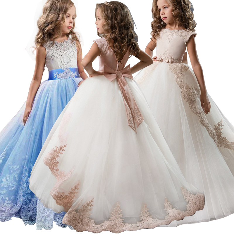 Kid Girl Elegant Weddings Pearl Petals Girl <font><b>Dress</b></font> <font><b>Princess</b></font> <font><b>Party</b></font> Pageant Long Sleeve Lace Tulle for 3 4 5 6 7 8 9 10 11 12 Yrs image