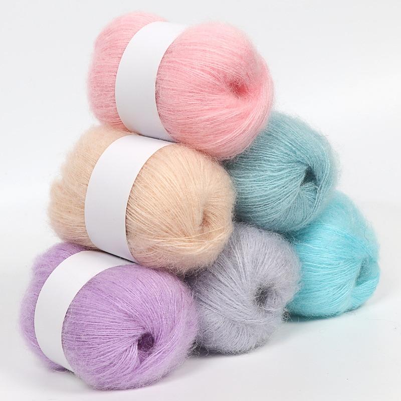 1 рулон мягким норковым бархатная шерстяная пряжа для ручного Вязание удлиненном плюше; Из шерсти и кашемира для вязания крючком, пряжа вяза...