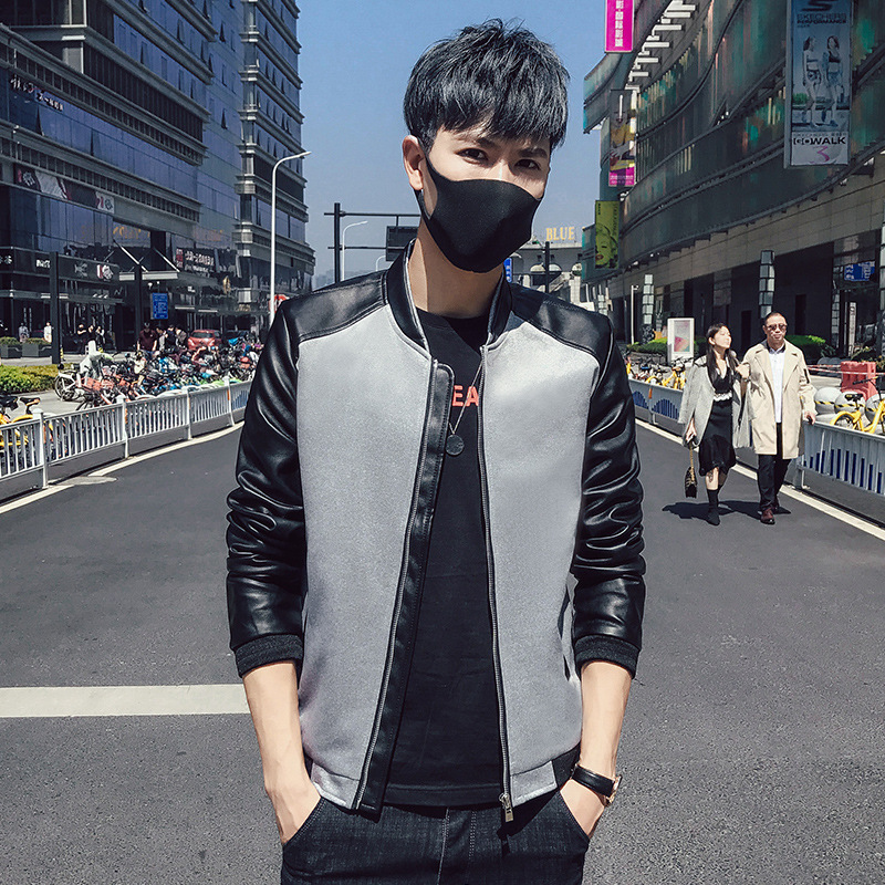 Spring And Autumn Jacket Men's Baseball Collar Clothes Coat Fashion Cardigan Pu Joint Leather Coat Gown Coat Youth Korean-style