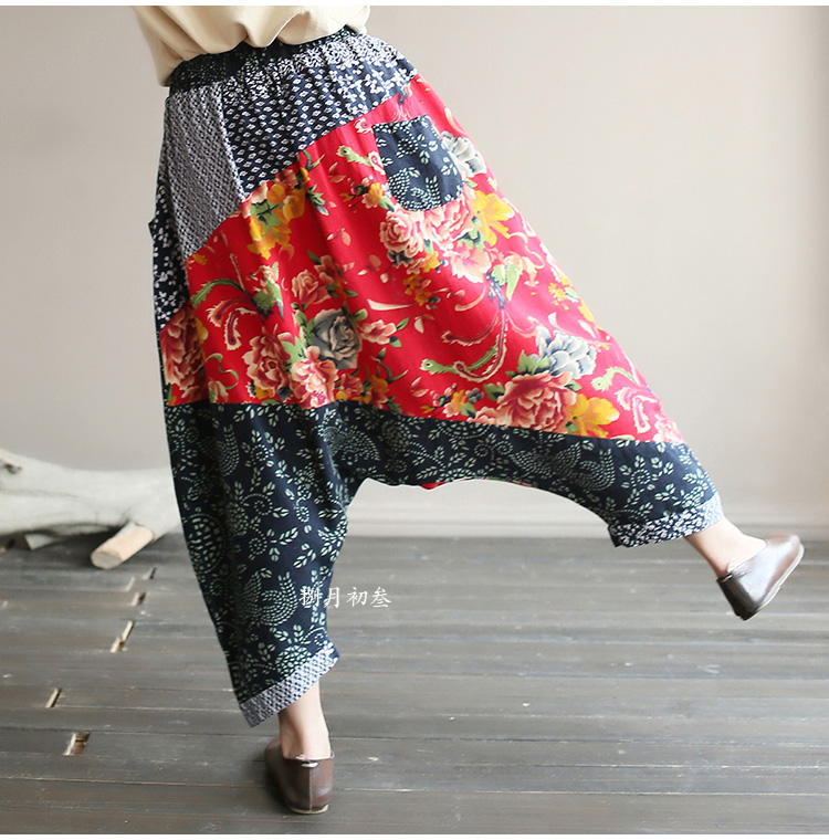 Original folk style women's retro stitching old cotton and linen material shift pants women loose large size baggy pants 46