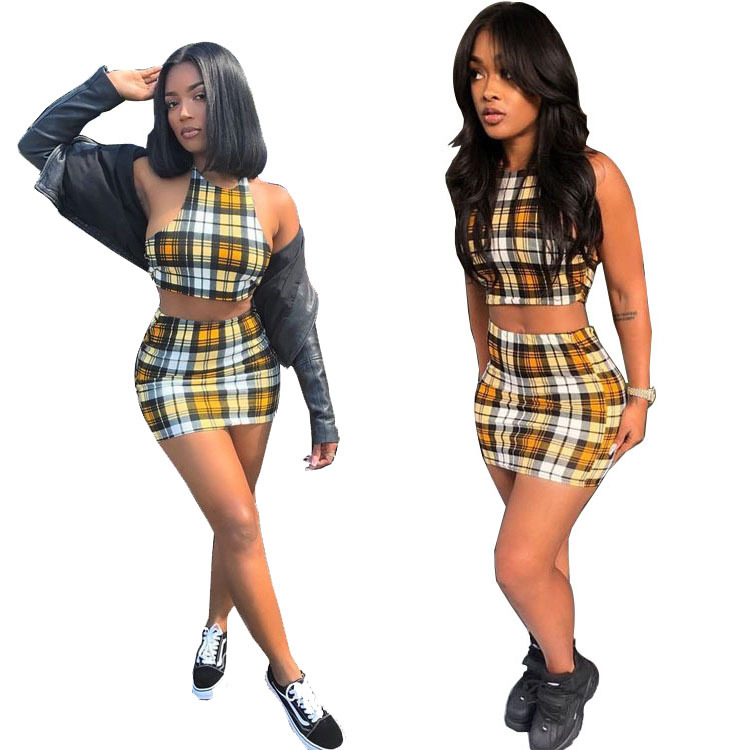 Cross Border Supply Of Goods 2019 Spring And Summer-Europe And America-Plaid Printed Leisure Sports Suit WOMEN'S Dress Large Amo