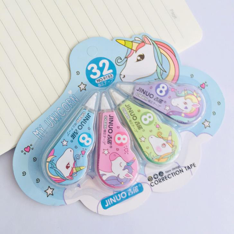 4 Pcs/pack Cute Unicorn Correction Tapes Corrector Tools Promotional Gift Stationery Student Prize School Office Supply