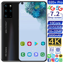 Global Version Smartphone Galay S20+ Pro Ultra 7.2 Inch Unlock 4G 5G Telephone Android 10.0 16MP+32MP 12GB+512GB Mobile Phones