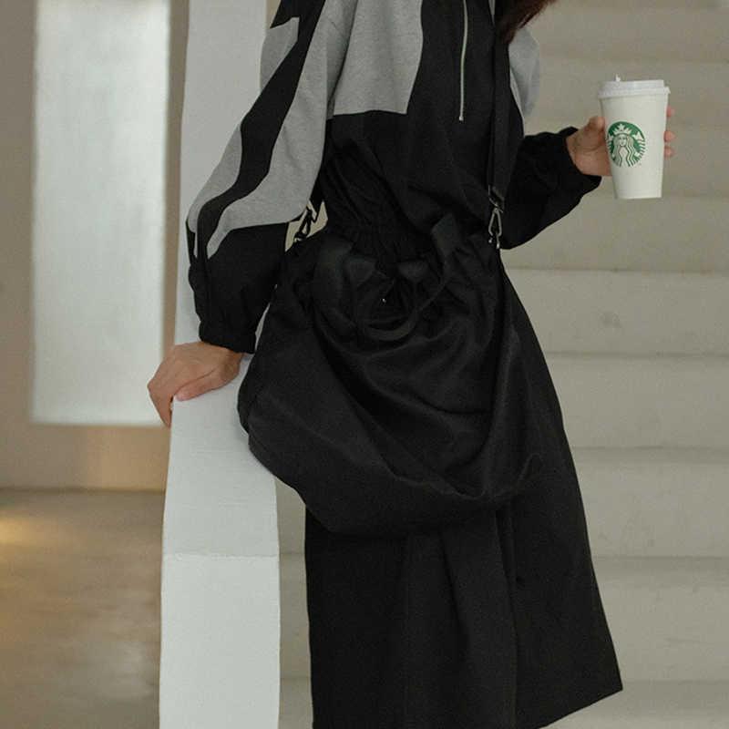 XITAO סתיו שחור אחוי Midi שמלה בתוספת גודל נשים צבע להיט בציר שרוך ארוך שרוול צווארון עומד 2019 חדש ZLL1946