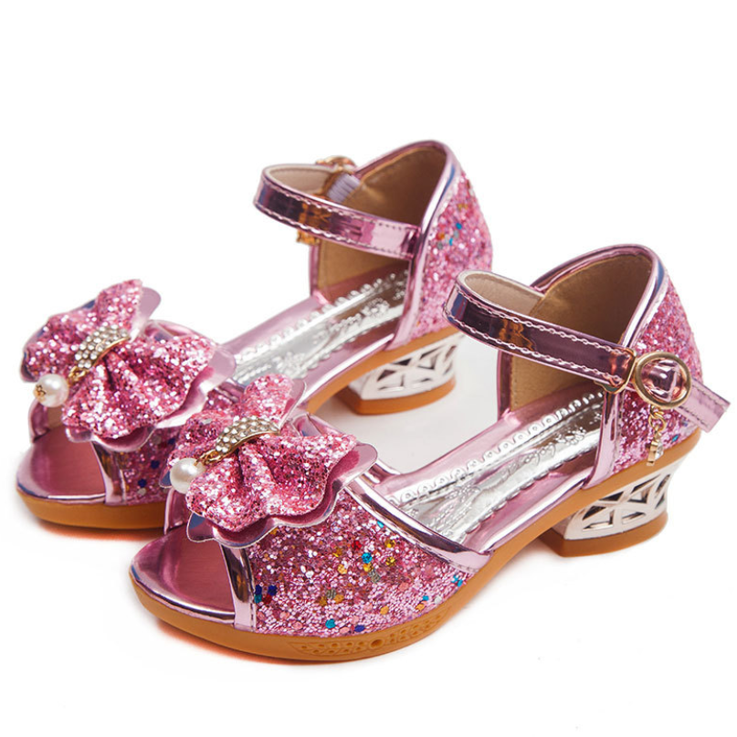Girls Sandals Rhinestone Butterfly Latin Dance Shoes Children High-heeled Glitter Leather Party Princess Shoes