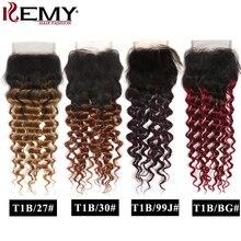 Глубокая волна закрытие шнурка 8 26 дюймов бразильские Омбре человеческие волосы закрытие 4x4 бесплатно/средняя часть швейцарское закрытие шнурка не Реми волос KEMY
