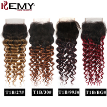 Deep Wave Lace Closure 8 26 Inch Brazilian Ombre Human Hair Closure 4x4 Free/Middle Part Swiss Lace Closure Non Remy Hair KEMY