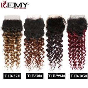 Image 1 - Perruque Lace Closure Deep Wave Non Remy brésilienne KEMY Hair
