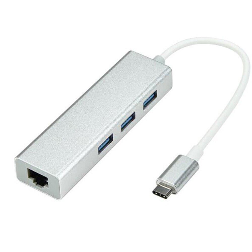USB 3.1 USB-C Type C 10/100Mbps Gigabit Ethernet Rj45 Lan Adapter With 3 USB 3.0 Network Card For MacBook