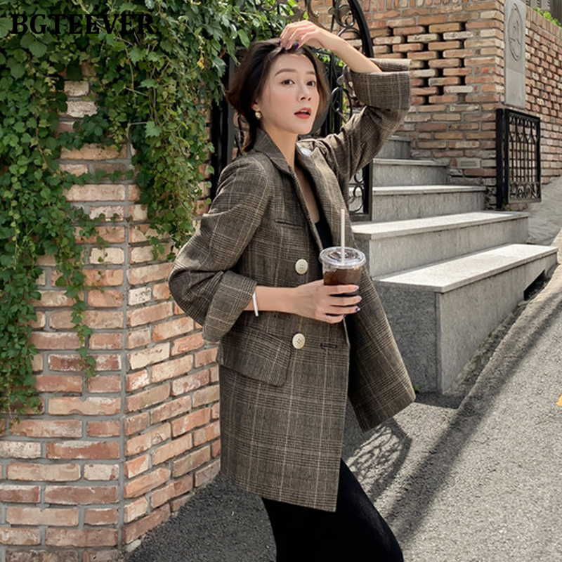 BGTEEVER 2019 Vintage Plaid Women Jacket Notched Collar Double-breasted Female Suit Jacket Autumn Winter Casual Blazer Outwear