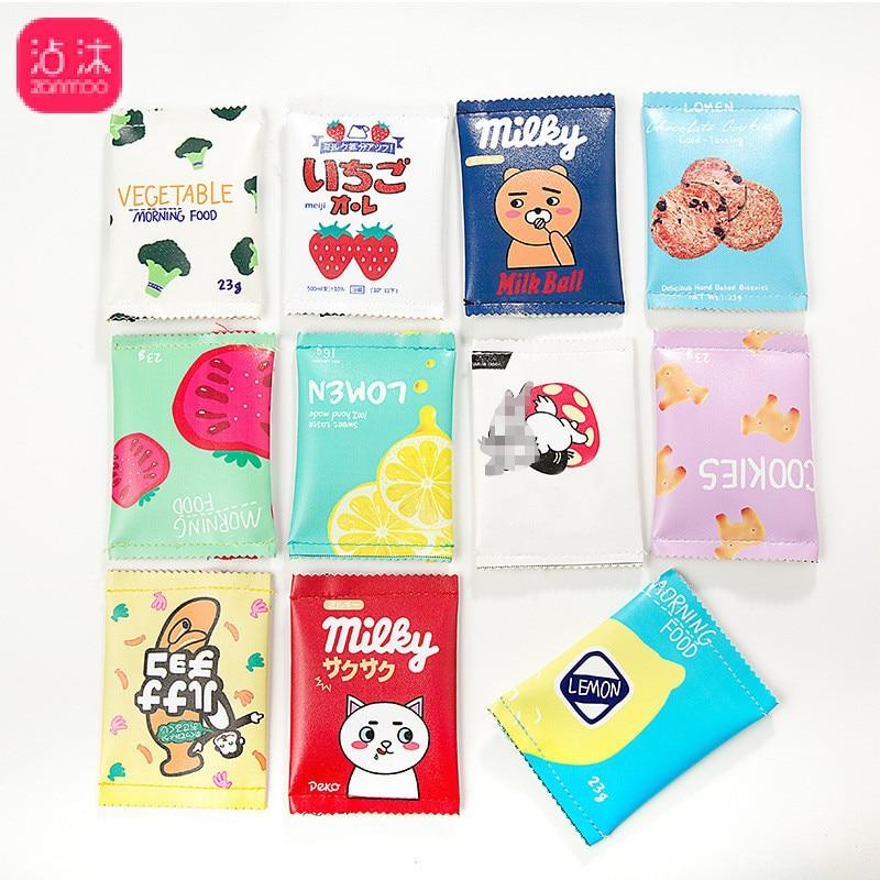0431 Cute Simple Purse Model Coins Biscuit Clutch Mini Snacks Fun Bag Dark Cell Korean-style