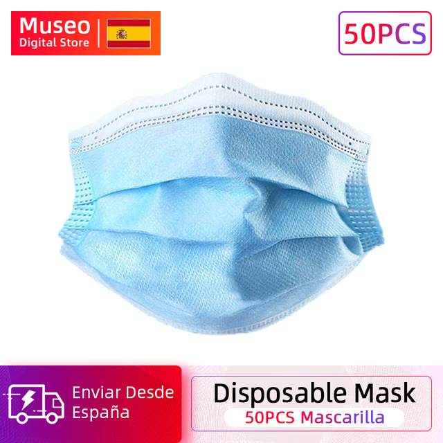 50 pieces Bag  Disposable Mask 3 Layer Non-woven Dust Face Mask Thickened Disposable Mouth Mask Dust Filter Safety Mask