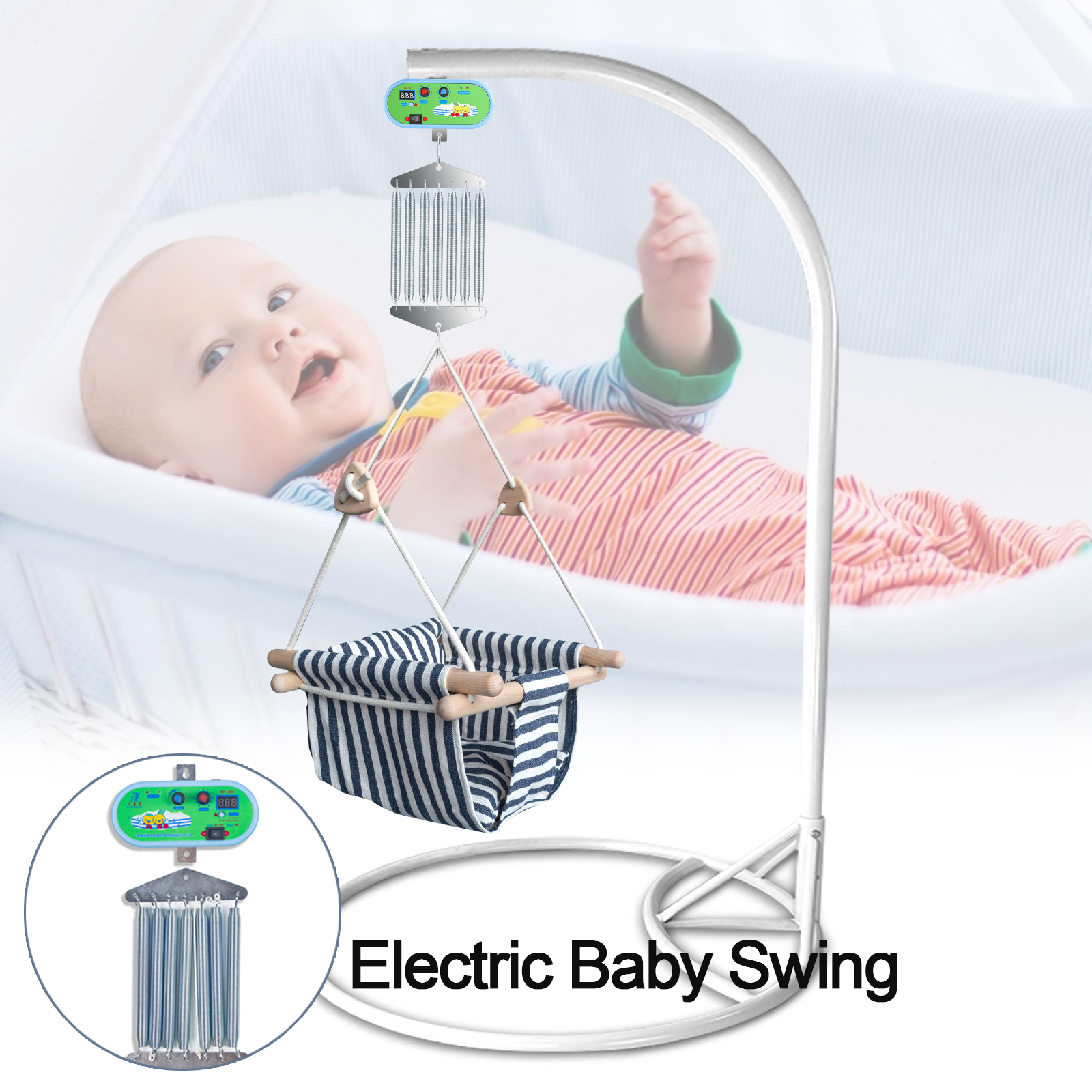 Electric Baby Swing 12W Baby Cradle Controller Infant Bouncer External Power Swing Driver Adjustable Timer With 7 Springs