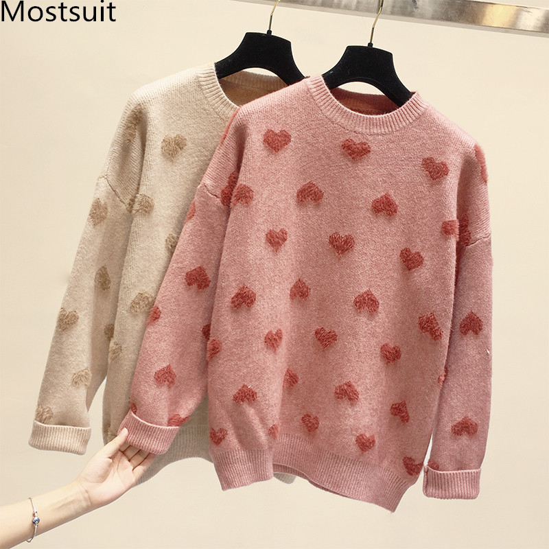 2019 Autumn Knitted Heart Sweaters Tops Women Long Sleeve O-neck Loose Fashion Casual Korean Ladies Pullovers Sweaters Femme
