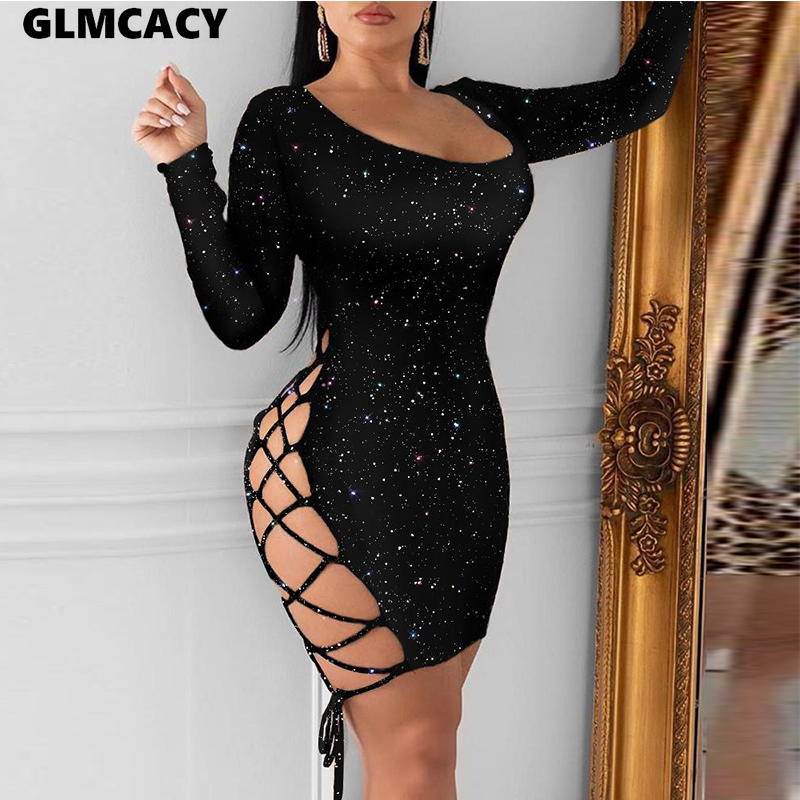 Women Glitter Lace-Up Sequins Dress Long Sleeve Backless Sexy Night Out Club Party Mini Dress Bodycon Short Dress