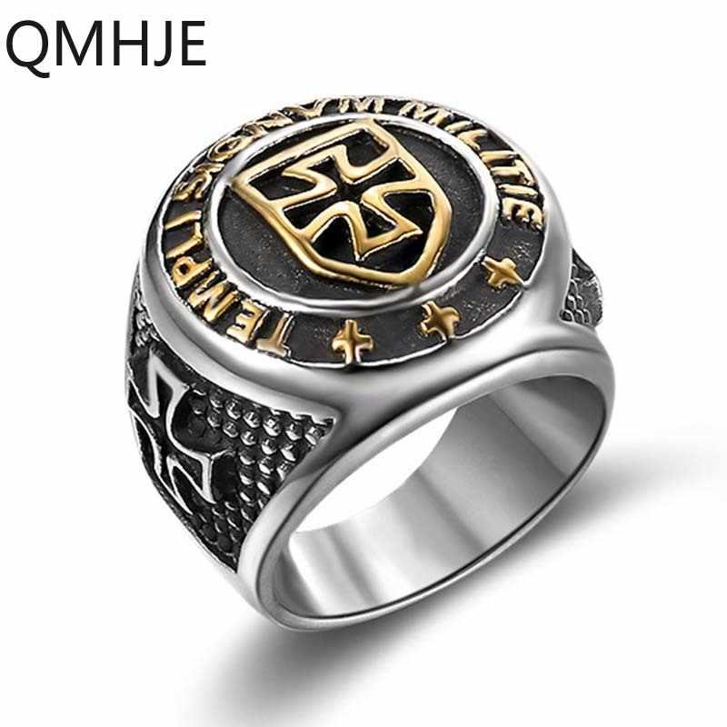 Cavaleiro templar cruz titanium aço men signet anel de prata ouro do vintage jóias punk rock masculino anéis biker banda hip hop dar235