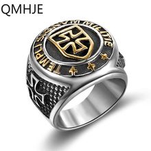 Knight Templar Cross Titanium Steel Men Signet Ring Gold Silver Vintage Jewelry Punk Rock Male Rings Biker Band Hip Hop DAR235(China)