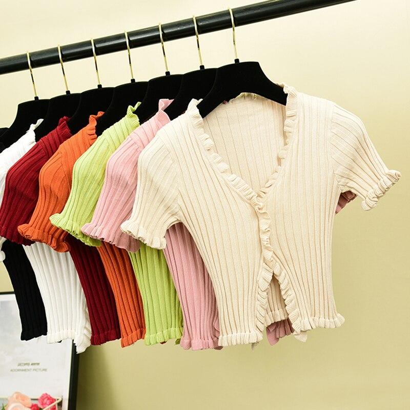Vintage V Neck Ruffles Ladies Slim Summer Knit T-Shirt Casual Women T Shirt Top Tee Harajuku Crop Thin Short Sleeve Cardigan