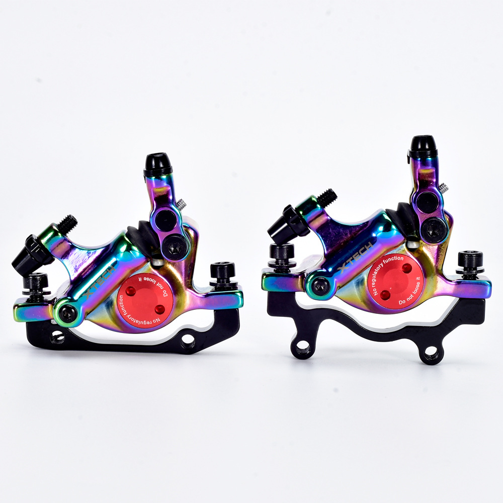 Colorful Bicycle Hydraulic Disc Brake Sets Front Rear MTB Bicycle Oil Disc Brake Mountain Road Bike Line Pulling Rainbow Brake