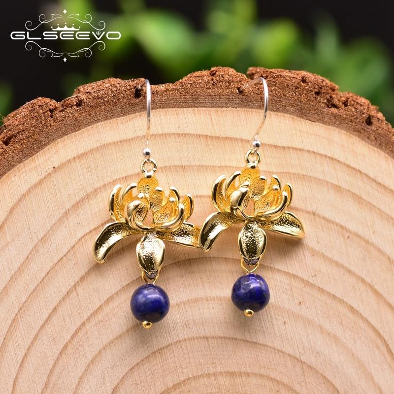 GLSEEVO Natural Lapis Lazuli Flower Water Drop Earrings For Women 925 Sterling Silver Plant Dangle Earrings Fine Jewelry GE0037