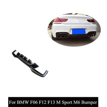 Car Styling Real Carbon Fiber Rear Diffuser For B-MW 6 Series F06 F12 F13 M6 M Sport Bumper 2012-2016 Convertible 640i image