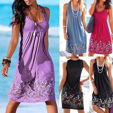 Nice Pop Boho Women Sleeveless Floral Summer Beach Dress Holiday Sundress Pop 88(China)