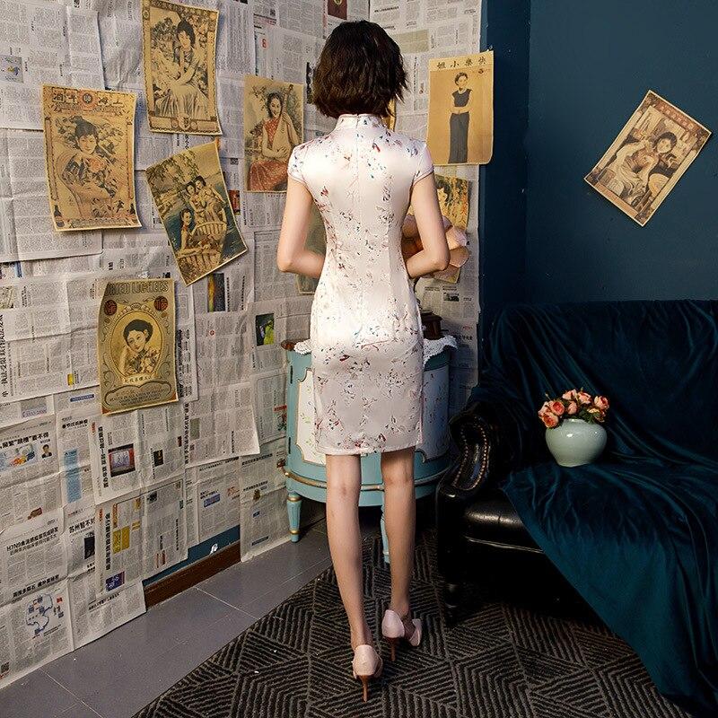 Image 2 - Hot Sale Ladies Print Satin Cheongsam Chinese Style Short Qipao Summer Formal Dress Novelty National Dress S 3XLCheongsams   -