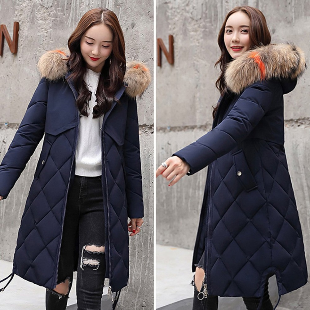 Solid Color Long Style Women Winter Slim Coat Thickening Down Cotton Winter Jacket Outwear Jacket For Women Toiletry Kits 2019