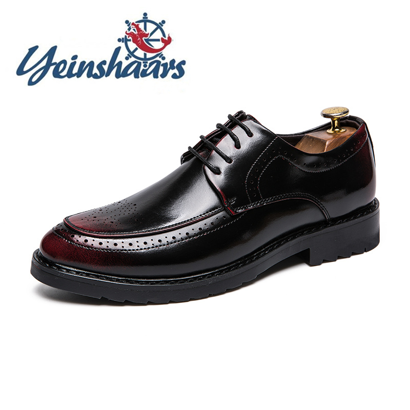 Mens Shoes Casual Leather Oxford British Style Elegant Business Shoes Formal Brogue Shoes Fashion Breathable Comfortable Shoes
