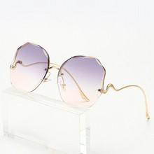 Fashion Trimmed Half Frame Ladies Sun Glasses Gradient Ocean Color Big Frame Women Rays