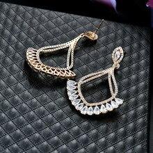 NJ Big Fan Shaped Romantic Tassel Earrings Ethnic Drop Bohemia Fashion Jewelry Geometric Earring